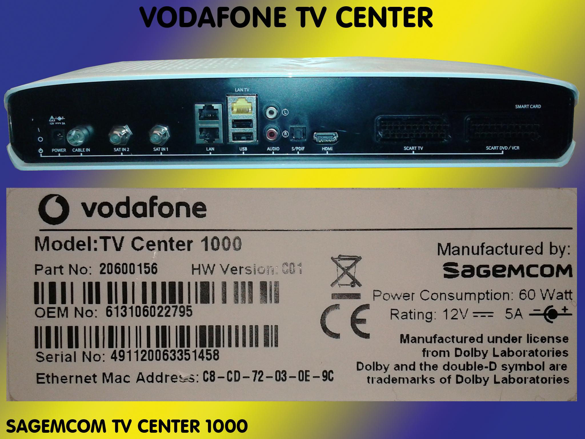 sagemcom digitaler hd video recorder vodafone tv center 1000 sat kabel receiver ebay. Black Bedroom Furniture Sets. Home Design Ideas